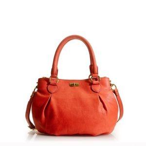 J Crew Vibrant Coral Brompton Leather Hobo Bag